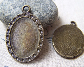 20 pcs of Antique Bronze Oval Cameo Base Settings Match 17x23mm Cameo  A5771