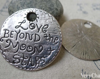 Antique Silver Round Moon Pendants 37.5mm Set of 5 A6096