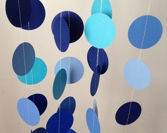 5 Shades of Blue 12 ft Circle Paper Garland- Party Decorations, Wedding, Birthday, Baby Shower, Bridal Shower