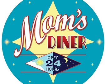 Moms Diner Open 24 Hours Star Wall Decal #40798