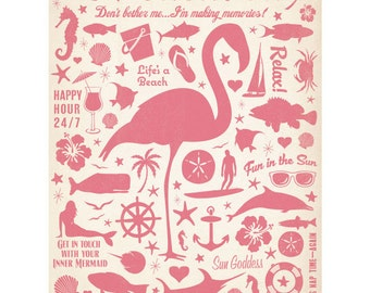 I Love Vacation Flamingo Wall Decal #41727