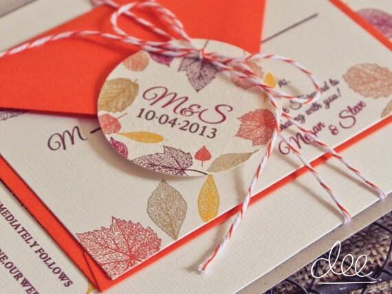 Fall Color Wedding Invitations: Items Similar To 100 Fall Foliage Wedding Invitations On Etsy
