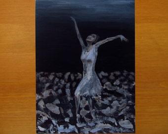 Ballerina painting - Original, impasto Abstract painting, Dancer Painting Acrylic Hand Painted on Canvas. Dancing Ballet Girl, ballerina art