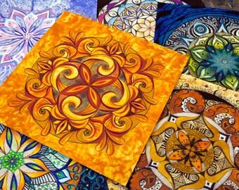 Original Mandala Art. Deep Orange and Red Mandala. Mixed Media Drawing on Paper.