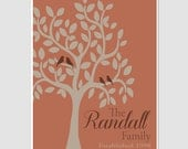 Family Tree Love Bird Tree Terracotta Orange Earth Tone Established Date Print Branch Wall Art Home Decor Picture Anniversary Wedding Gift