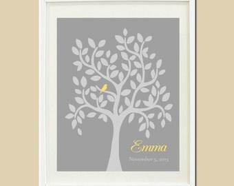Yellow Grey Gray Nursery Personalized Name Custom Tree Bird Leaf Branch Custom Decor Birthday Baby Shower Gift 1 Print Wall Decor Picture