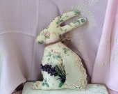 Cottage chic Easter rabbit, Vintage ivory linen, French country chic, vintage buttons, Primitive garden bunny, trinityridgefarm, OFG team