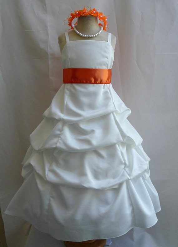 Flower Girl Dress IVORY w/ Orange SPU Wedding Children Easter Bridesmaid Purple Eggplant Pink Light Orange Lilac