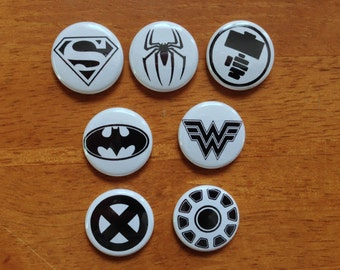 Super Hero Buttons Set of 7 Pinback Buttons Superman Batman Spiderman Super Hero Buttons
