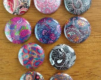 Paisley Pattern Set of 10 Pinback Buttons Paisley, Colorful Paisley, Paisley pattern