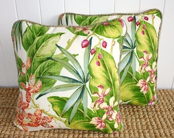 """Tropical Orchid Outdoor Fabric Cushion or Pillow Cover with piping 