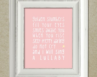 beatles art print / golden slumbers lyrics / unframed
