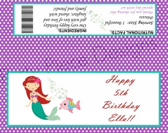 The Little Mermaid Personalized Chocolate Wrapper - Printable File