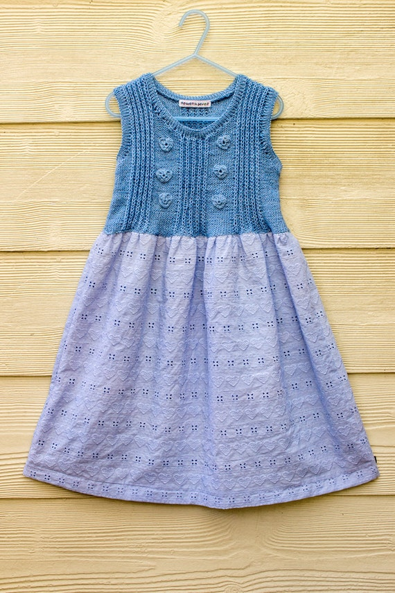 Items similar to Girls Dress, Knit Top Dress, Blue Cotton, Girls Summer Knit ...