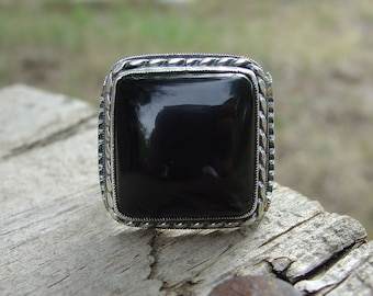 Square Black Onyx  Ring in Sterling Silver ... Made to Order