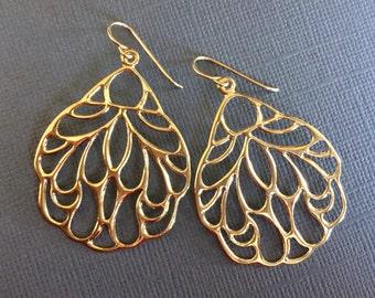 Large Gold Earrings, Gold Butterfly Floral Earrings, Large Lightweight Earrings
