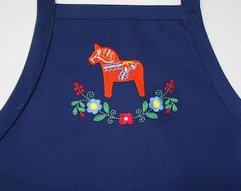 Embroidered Swedish Dala Horse & Flowers on Blue Apron #411