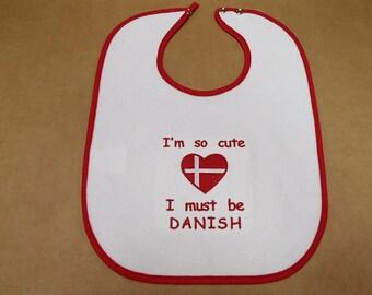 Scandinavian Embroidered Baby Bib - I'm So Cute I Must Be Swedish Finnish Norwegian or Danish
