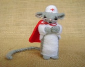 Nurse Felt  Mouse - Miniature felt - Get Well Gift - RazzleDazzlebySally