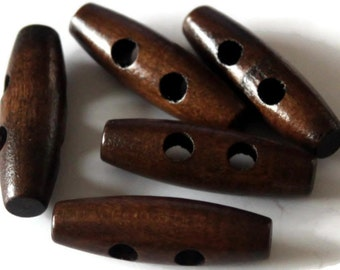 5 Large Toggle Brown Wooden Buttons 35mm x 11mm Natural 2 holes large Long Buttons - NW38