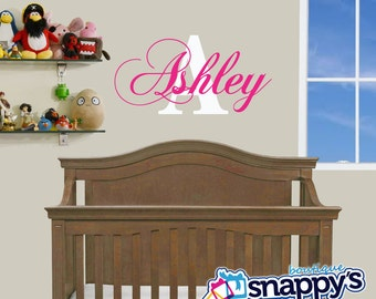 Nursery Wall Decal - Custom Monogrammed wall decal for boy or girl nursery.   Any Color.