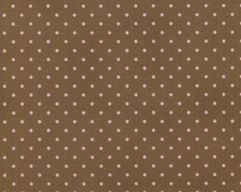 RJR Robyn Pandolph Incense & Peppermints 0016 034 Pink Dots on Brown by the Yard
