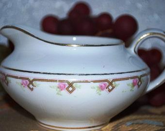 Crooksville China Gold & Flower Trimmed #A-190 Porcelain Footed Creamer