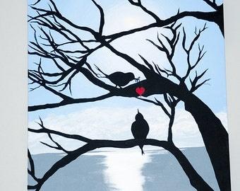 Birds in love handmade art