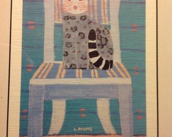Laura Fiume signed framed lithograph-Cat on Chair