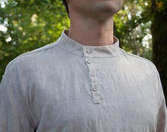 Natural linen handmade men's shirt