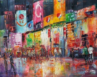 """Goldy Young -MANHATTAN AT Night 24""""x 36"""""""