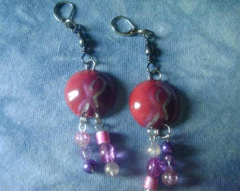 Domed  Breast Cancer Pierced Earrings Custom Painted With Beads