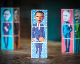 Presidents Poli-blocks - wooden stackable Icon Blocks by Red Fox Ink. Carter, Reagan, Bush Snr, Clinton, Bush Jn., Obama