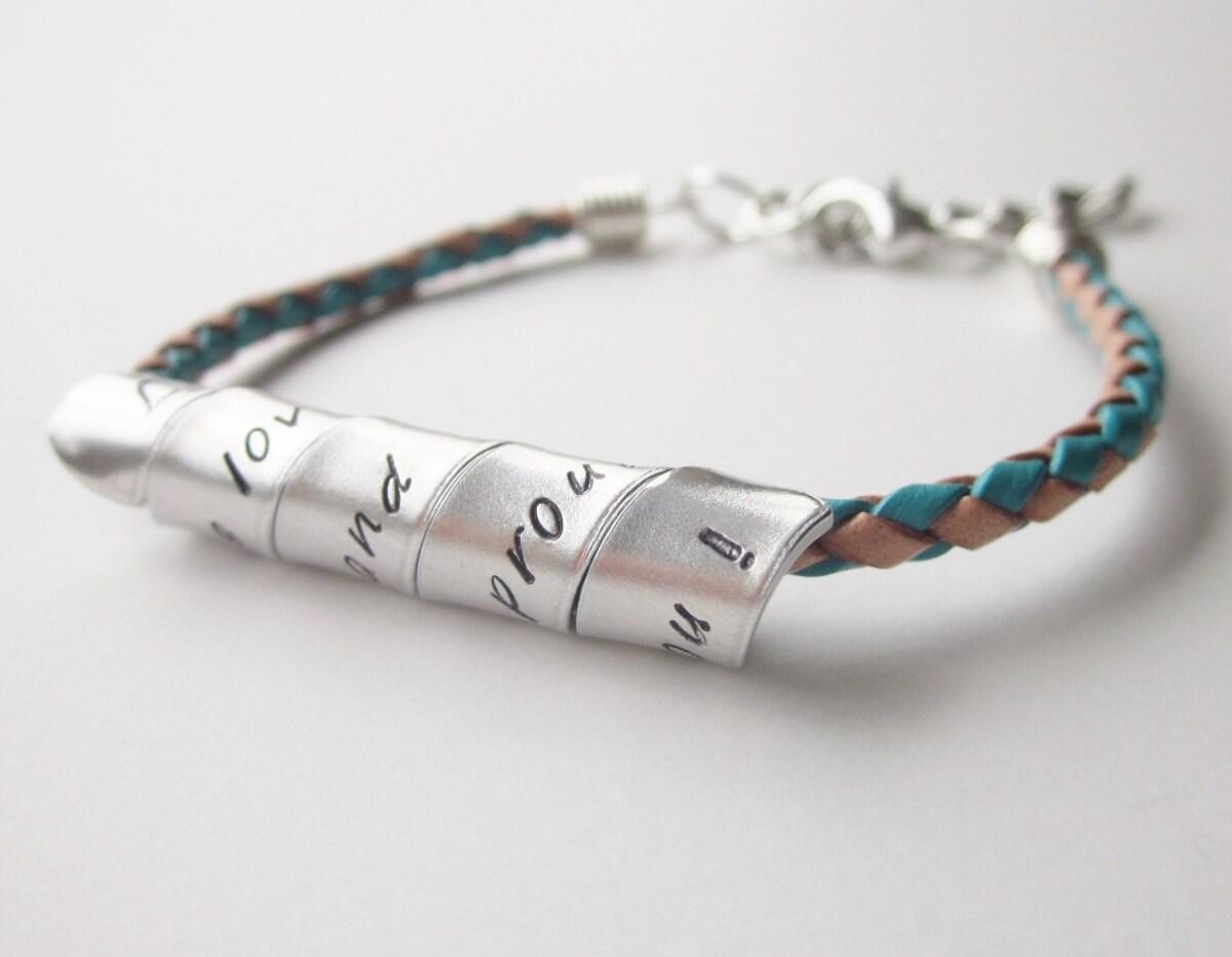 leather bracelet personalized aluminum spiral bracelet