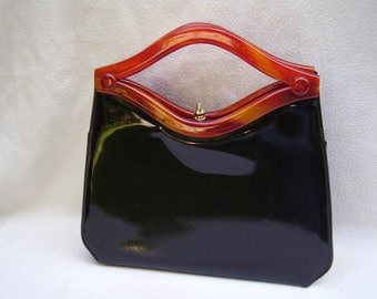 "VINTAGE ""GARAY"" 1950's Black Patent And Lucite Handbag A Black Beauty"