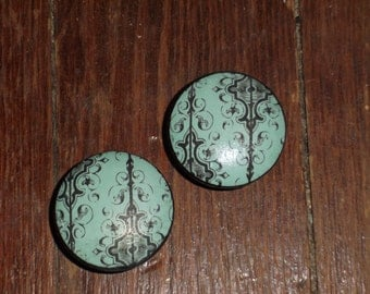 "Turquoise and Black Print 1.5"" Dresser Drawer Knob"