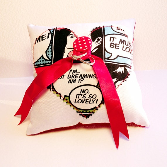comic book print wedding ring cushion pillow with