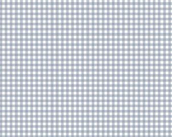 Blue Gray Gingham Fabric - Whisper of Roses  by Maywood Studio MAS2107 B - 1/2 yard