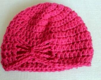 Pink Crochet Butterfly Hat