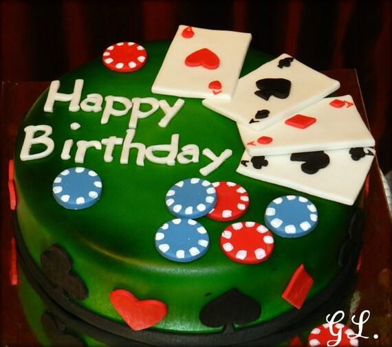 Edible Themed Cake Decoration : 24-Piece Set Poker Theme Edible Fondant Cake Decoration