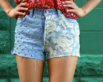 Highwaisted Lace Denim Shorts (Studs)
