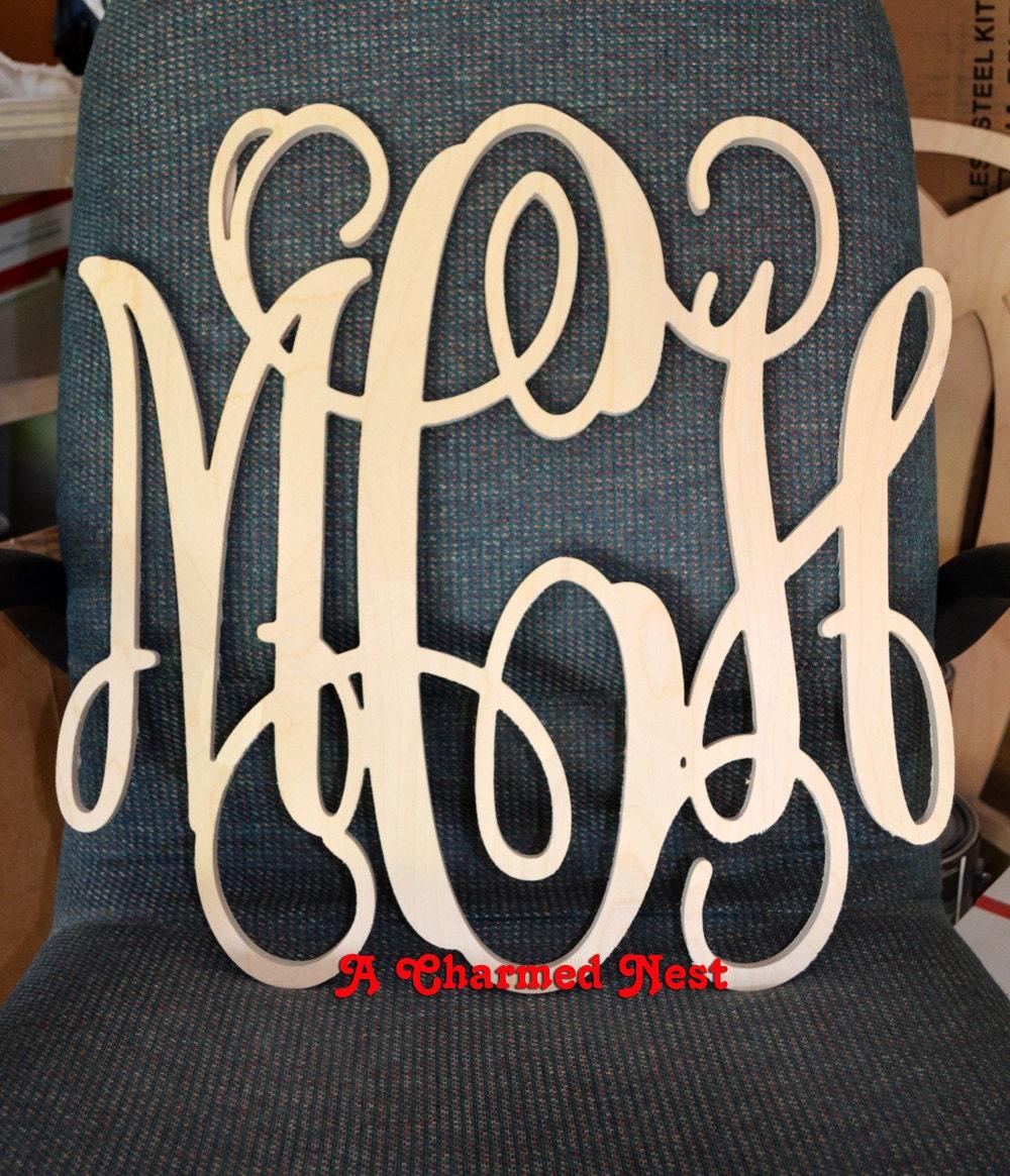 Vine Script Monogram Letters Wooden Monogram Initials
