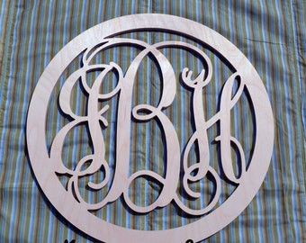 24 inch BORDER Vine connected monogram letters - round