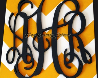 "20"" Painted Wood Monogram - Wedding Guest book, photo prop, nursery decor"