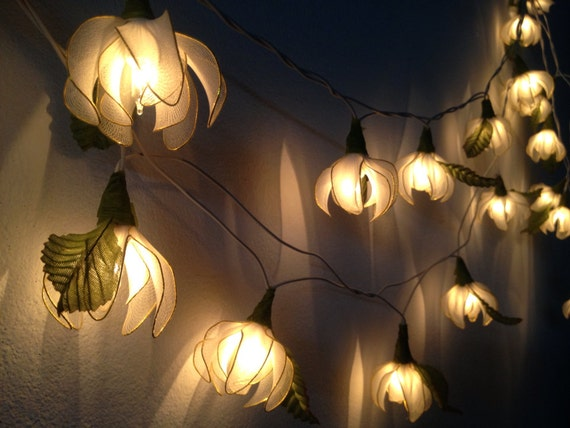 20 White Tone Ylang-ylang Flower Fairy String by fairylighting