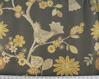 Birds Fabric, Drapery Fabric, Upholstery Fabric, Duvet Cover Fabric, Graphite/Gray Fabric, Home Decor Fabric Yardage
