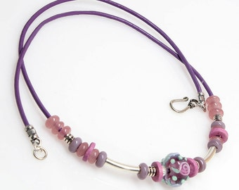 Purple Lampwork Leather Necklace, Artisan Lampwork, Pink, Handmade Jewelry, Jewellery