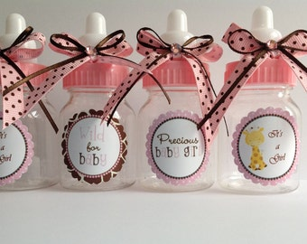 "12 small 3.5"" Giraffe girl baby shower-baby shower favors- girl baby shower- safari girl baby shower- pink and brown baby shower- safari"