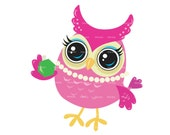 Cute owl clipart clip art - baby owl clipart - school owl clipart - digital owl clipart - owl graphics - Personal and Commercial Use