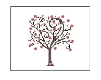 Cherry Blossom Tree | Easy Cross Stitch Pattern | Whimsical Pattern for Cross Stitching | Beginner Pattern | Gift for Mom | Easy Project